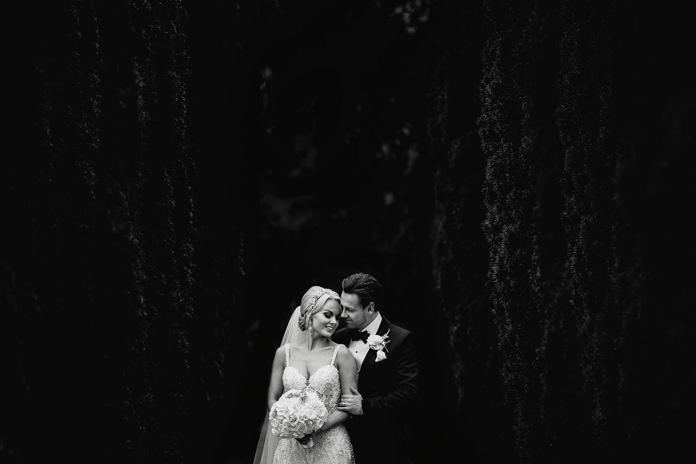 black and white couple portrait at quirky hertfordshire wedding venue