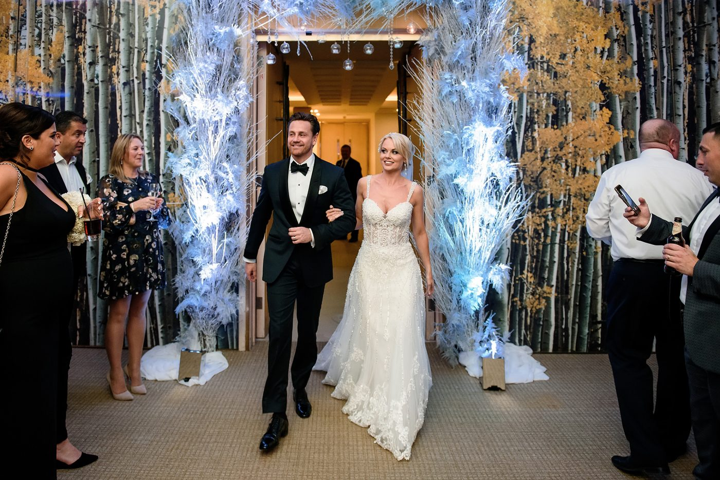 winter wonderland wedding entrance