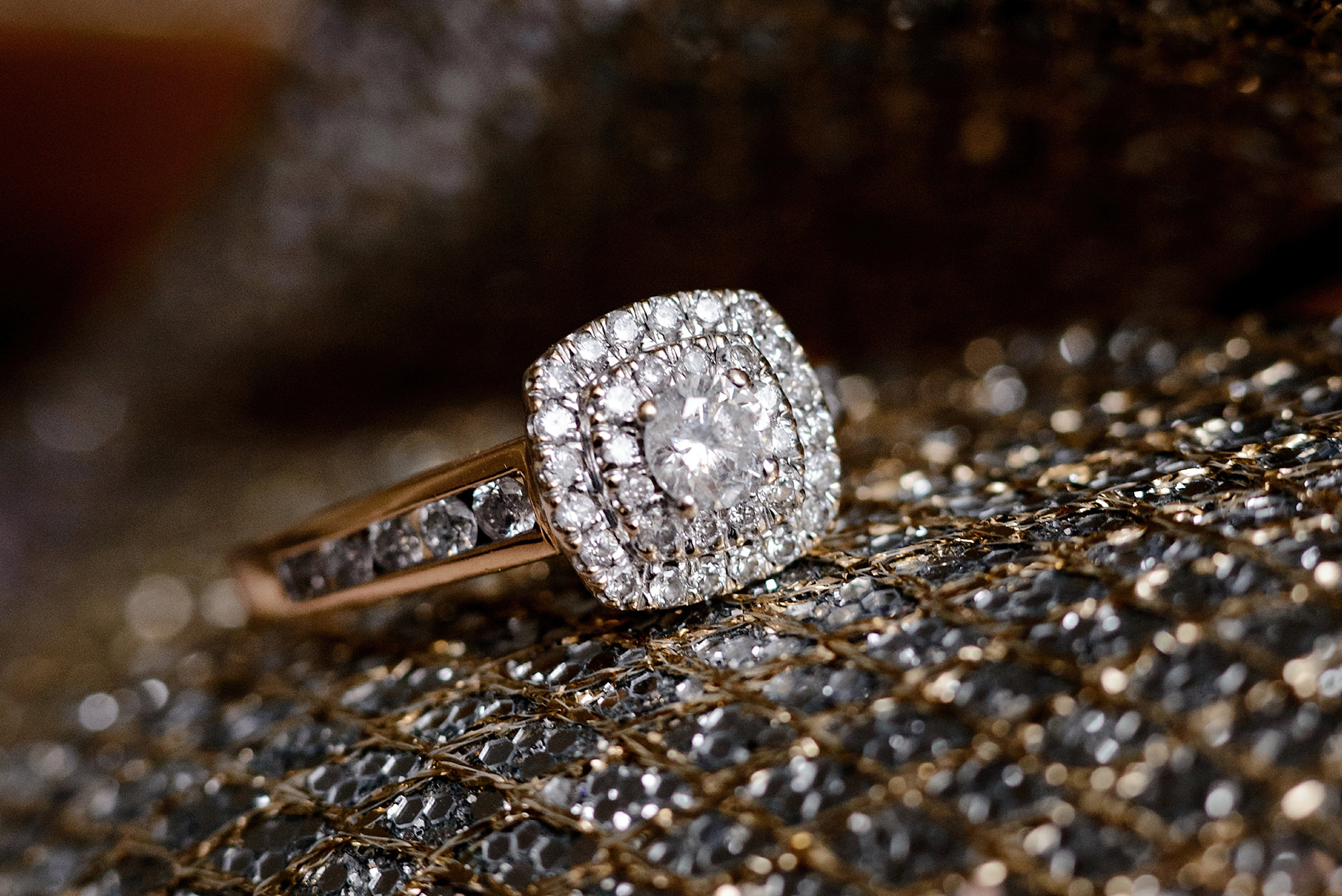 creative wedding ring detail shot