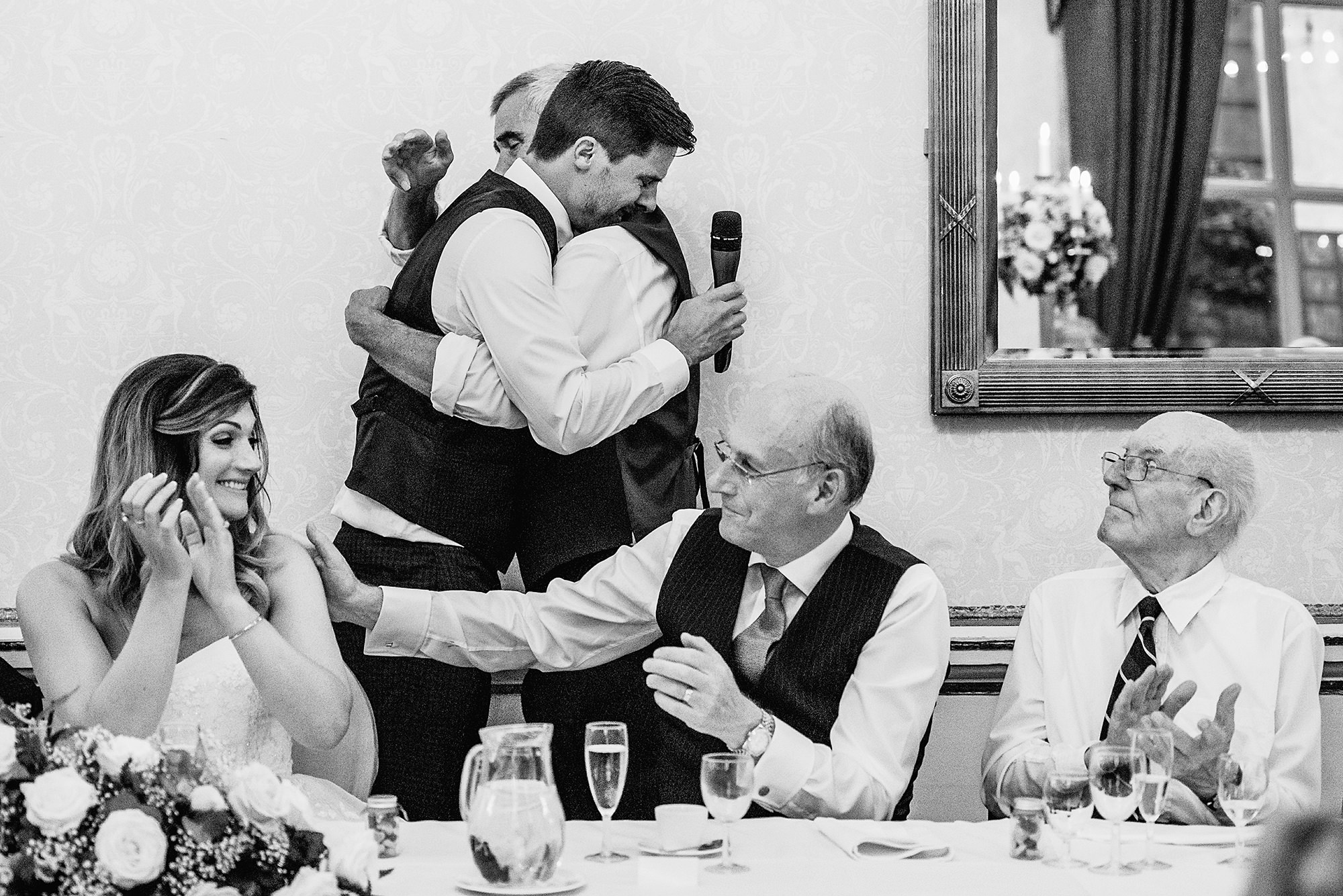 groom gets emotional during his speech