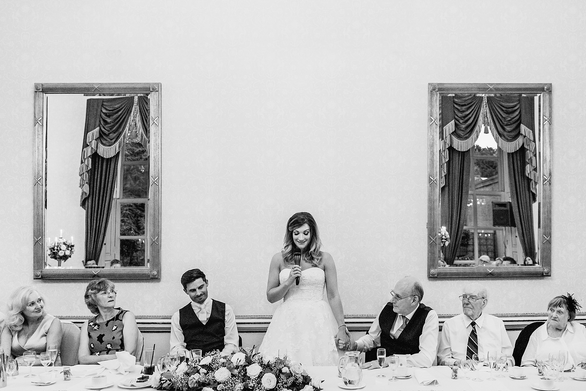 bride gives a wedding toast