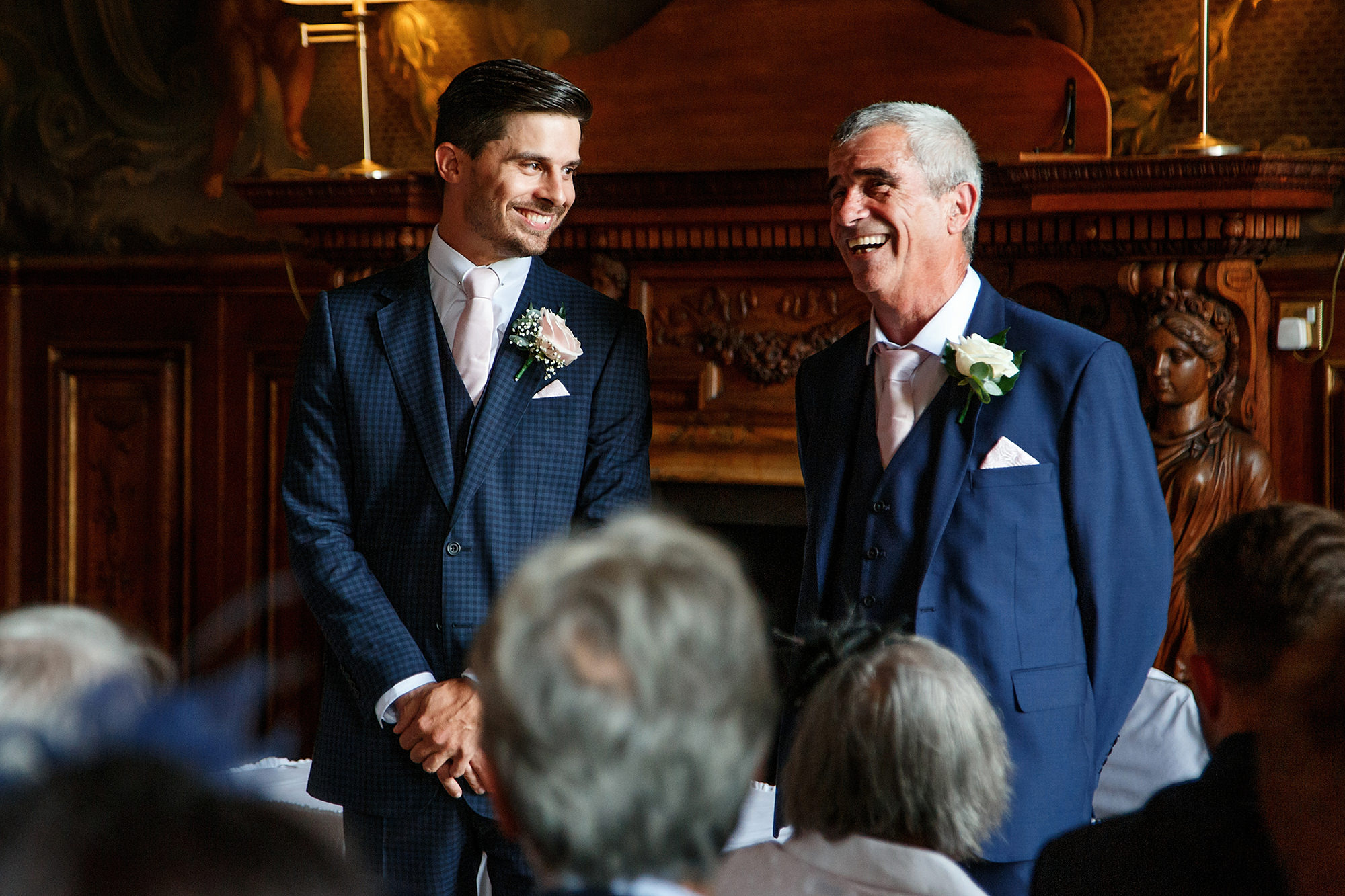 groom with dad before the ceremony