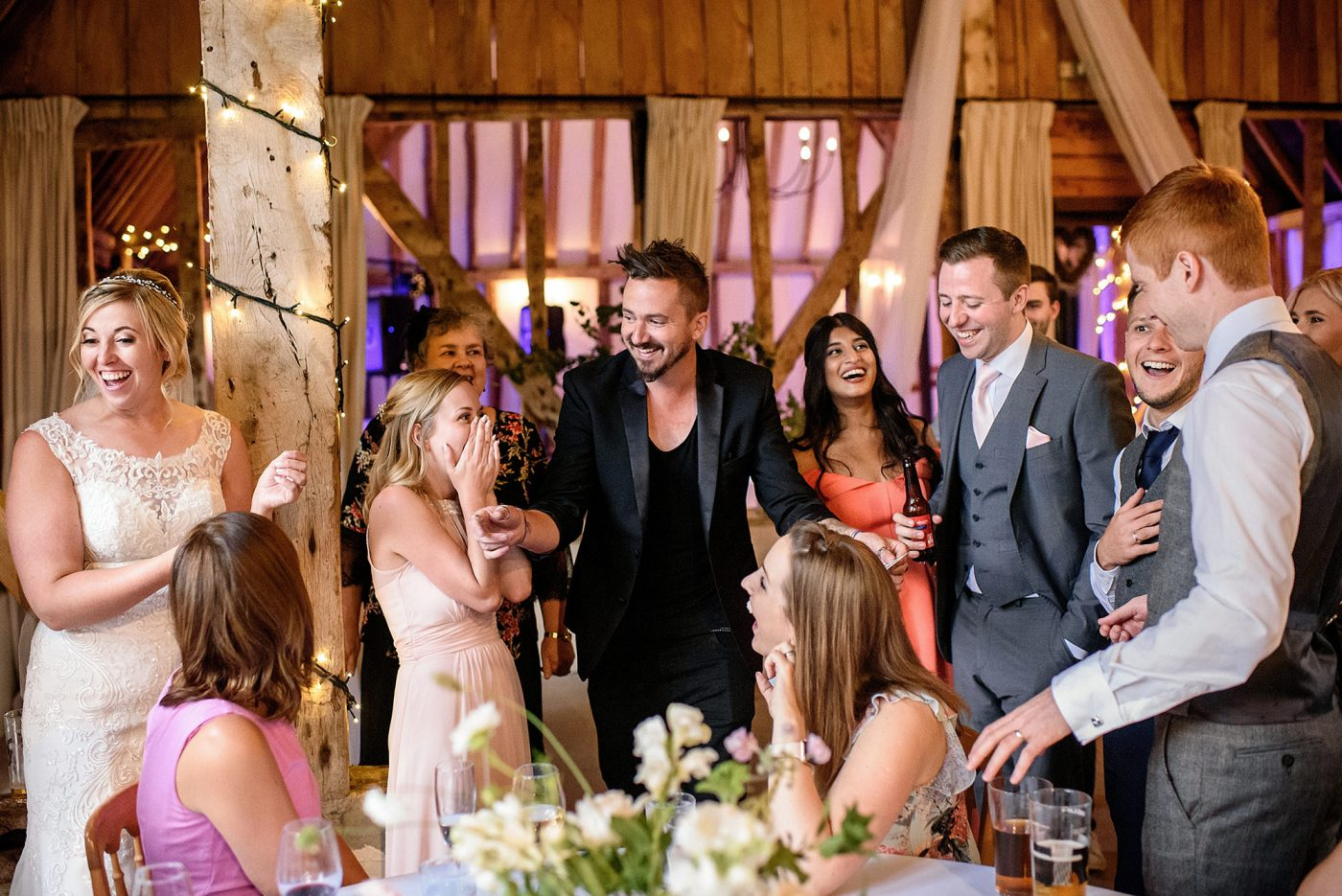 guests wowed by wedding magician