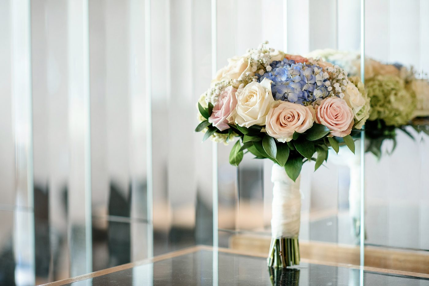 pastel blue and pink bouquet