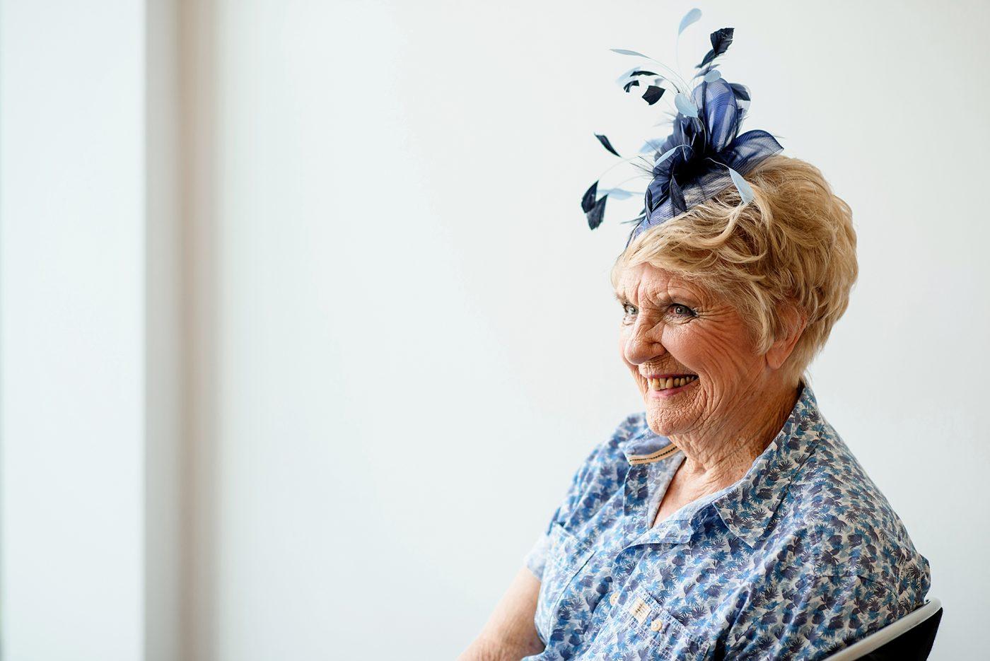 bride's grandma laughing
