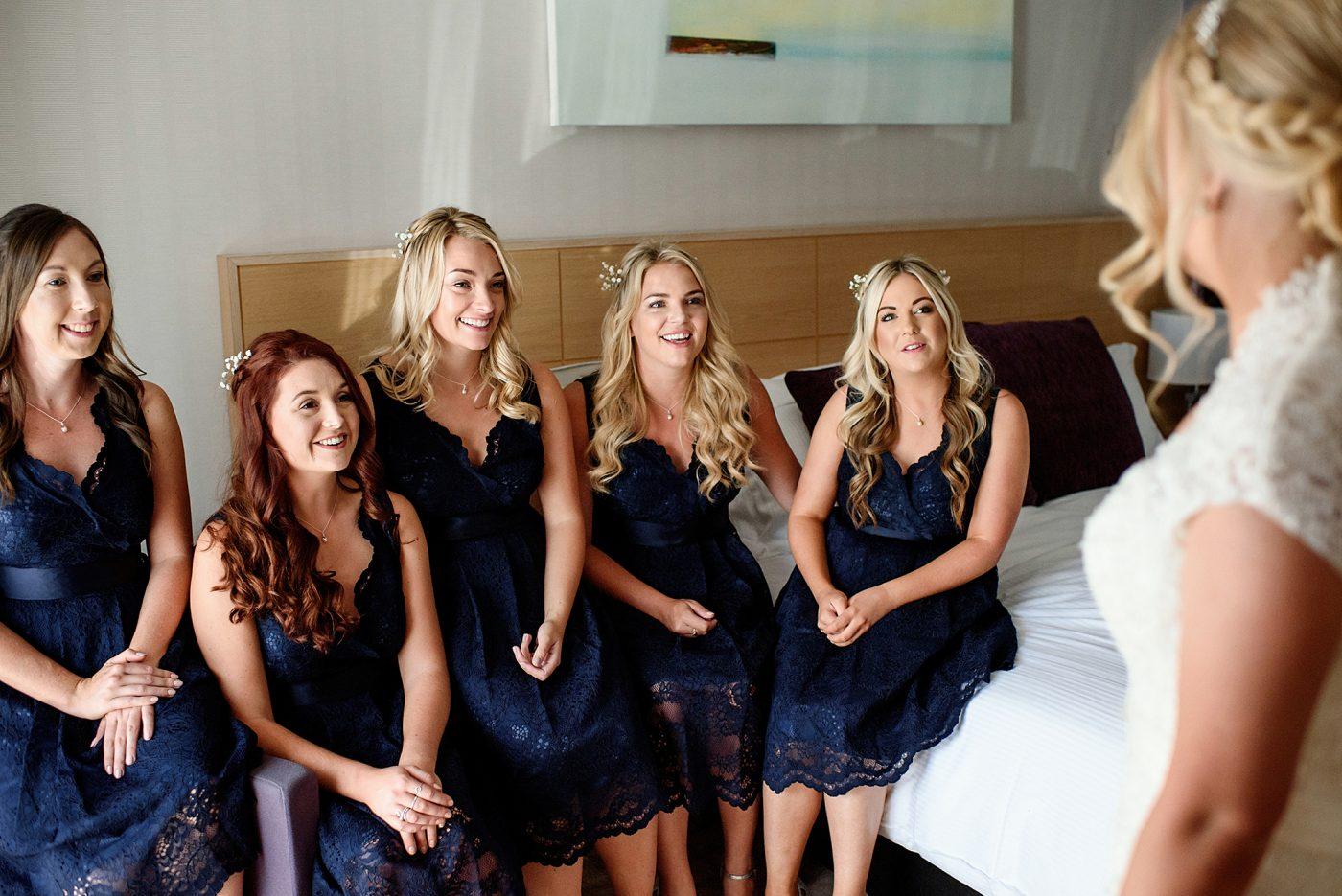 bridesmaids reaction to the bride