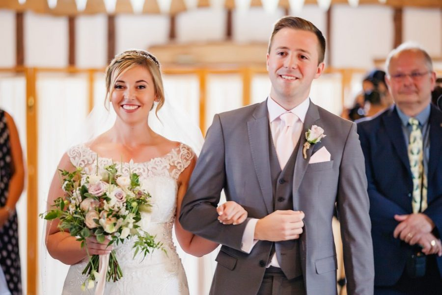 Clock barn wedding ceremony