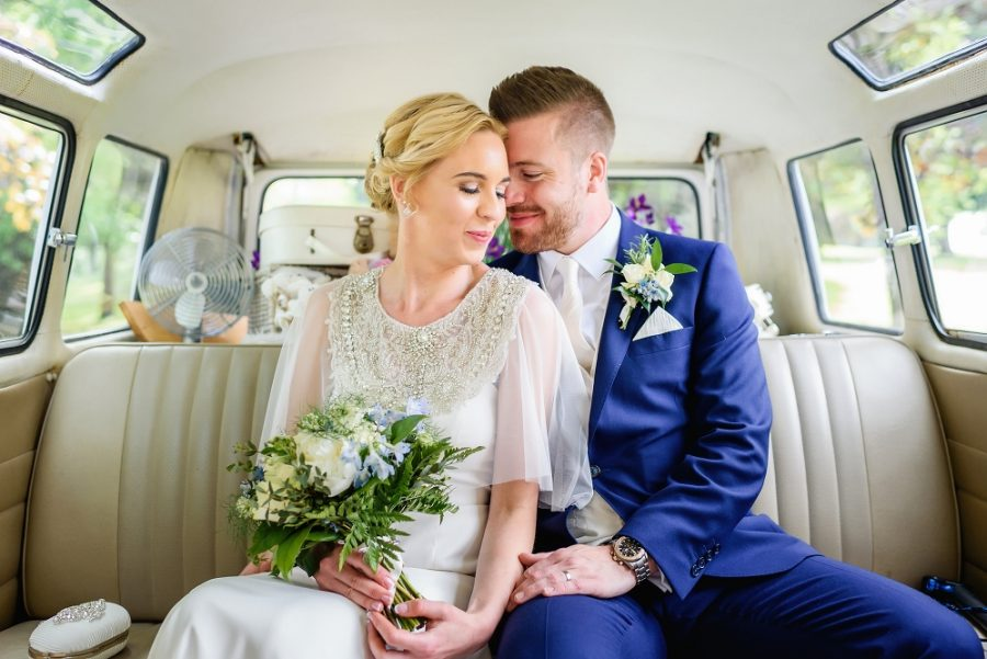bride and groom in vw camper hertfordshire