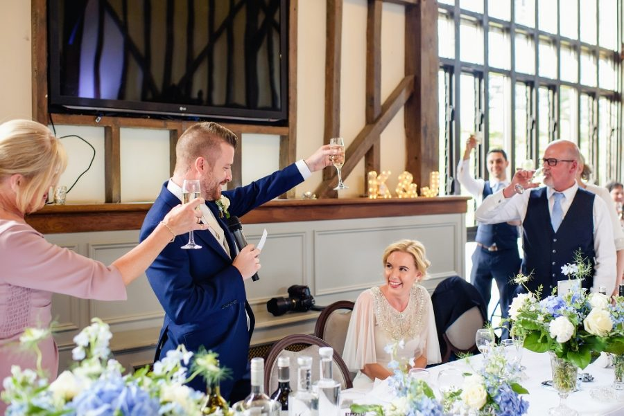 groom toasts to bride
