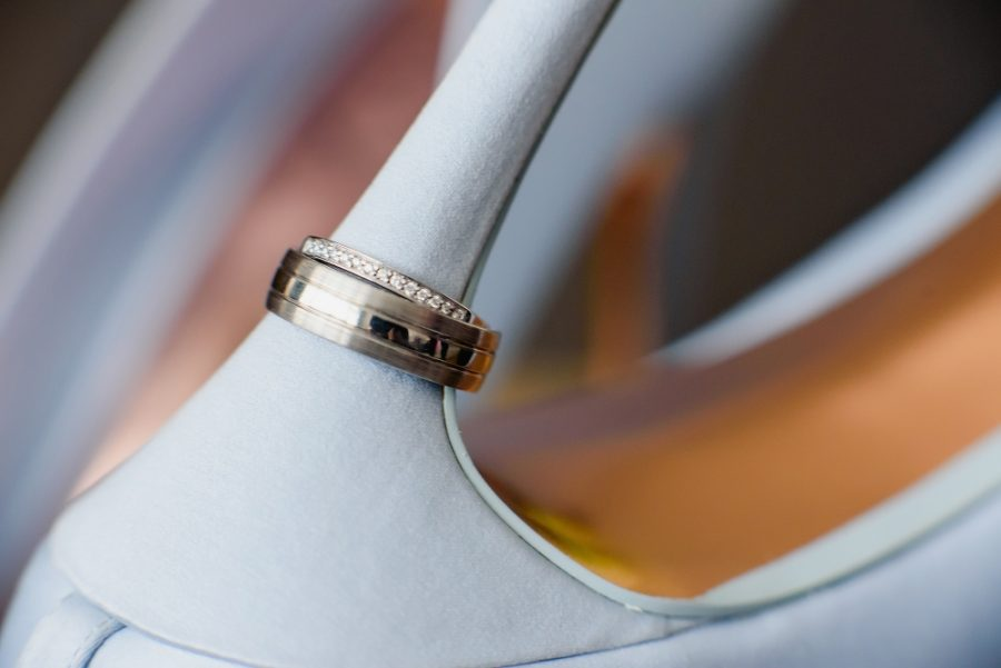 wedding ring on blue ted baker wedding shoe