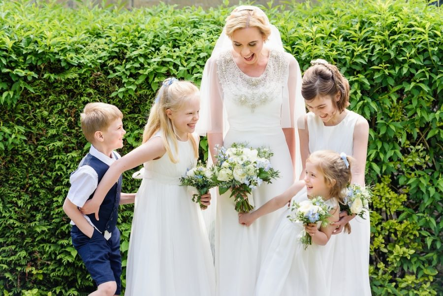 flower girls at church wedding hertfordshire