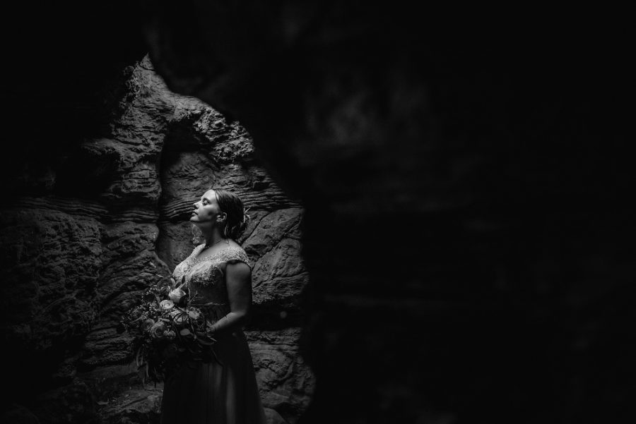bridal portrait in cave