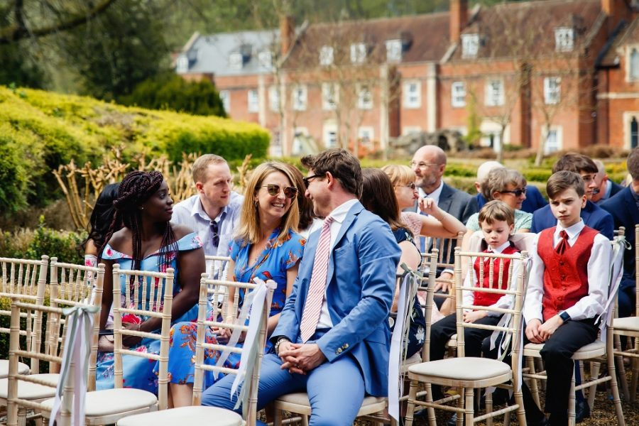 guests at wotton hall outdoor wedding