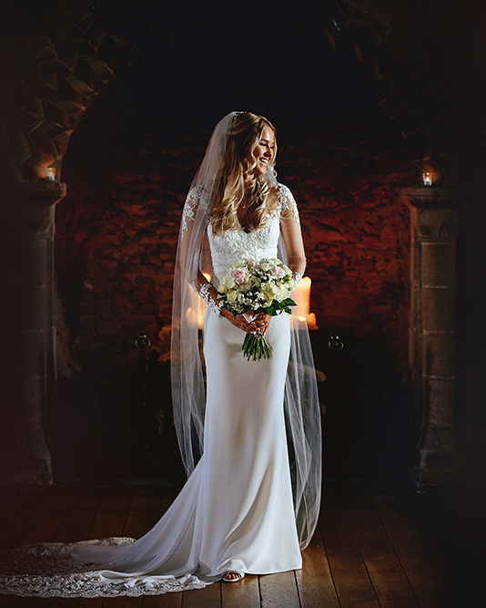 Bridal portrait at castle wedding