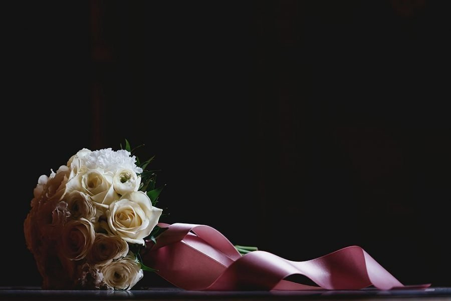 brides bouquet in dramatic light