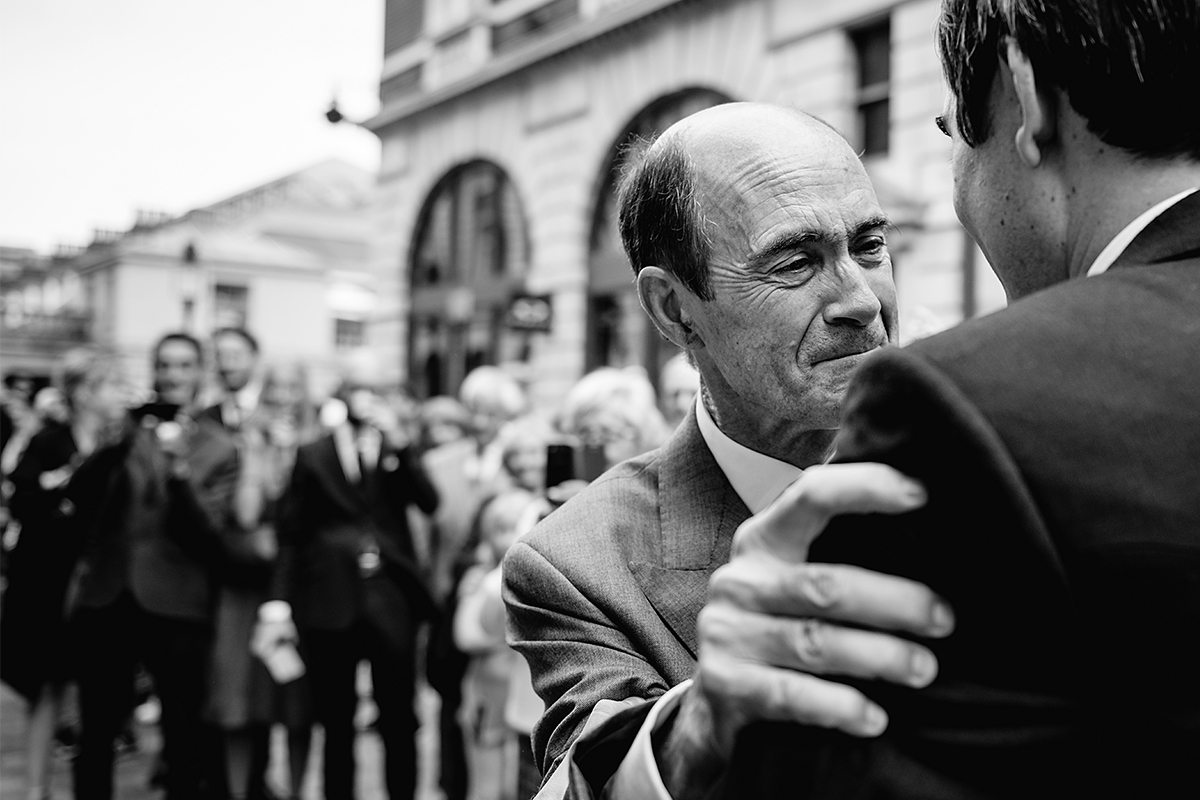 Groom with dad at Covent Garden wedding