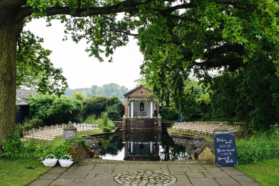outdoor wedding ceremony lake micklefield hall