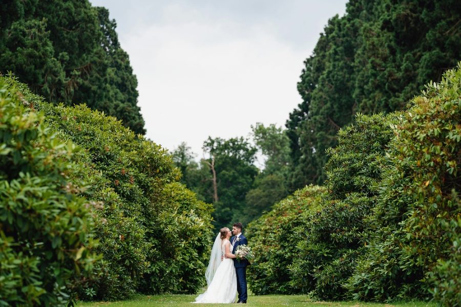 couple portrait at manor house wedding in Hertfordshire