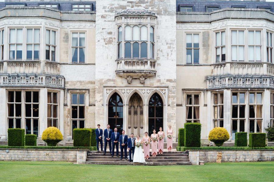 bridesmaids and ushers at hertfordshire manor house