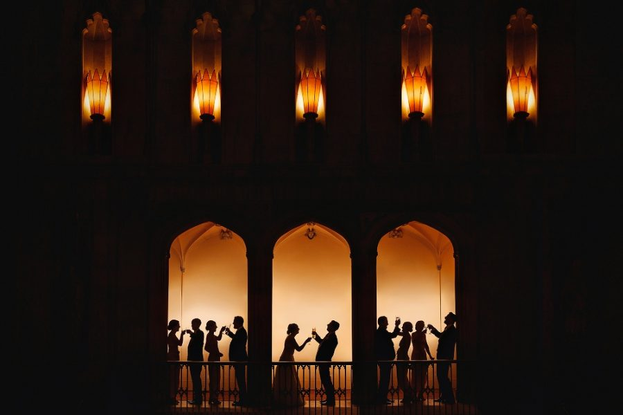 creative award winning wedding photography group formal silhouette