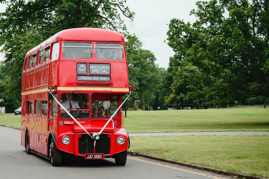 london bus travels to manor house wedding in hertfordshire