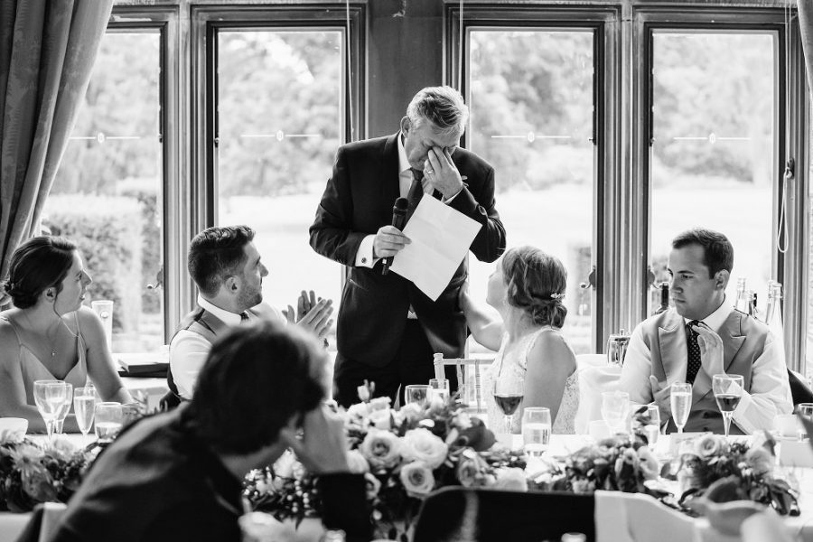 father of the bride getting emotional during speech