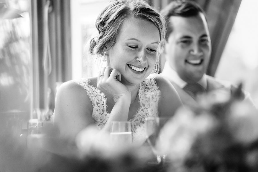 bride smiling in black and white