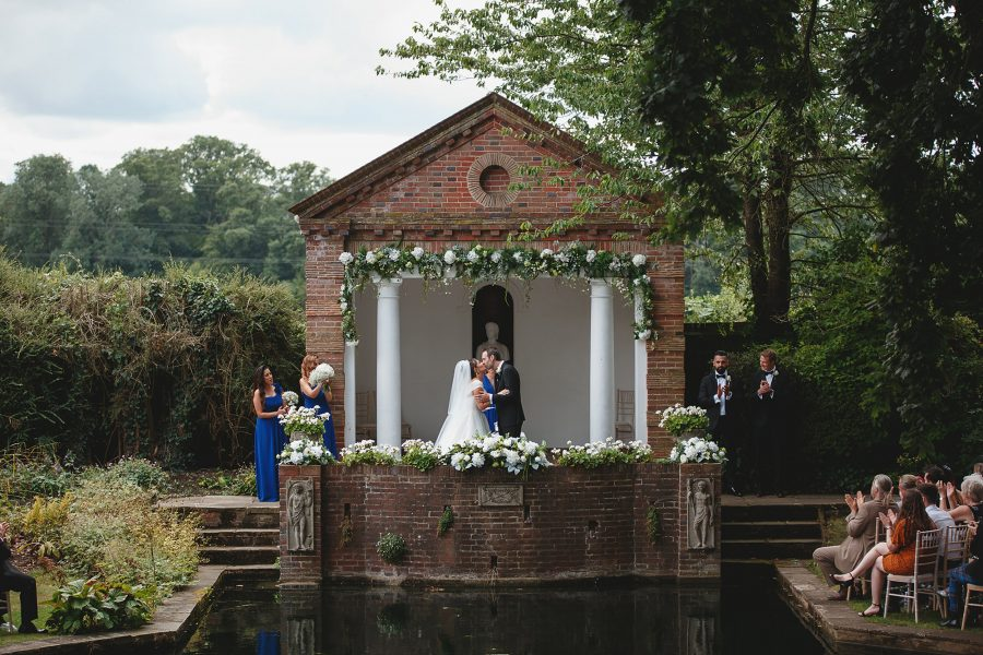 lakeside wedding ceremony at Micklefield Hall