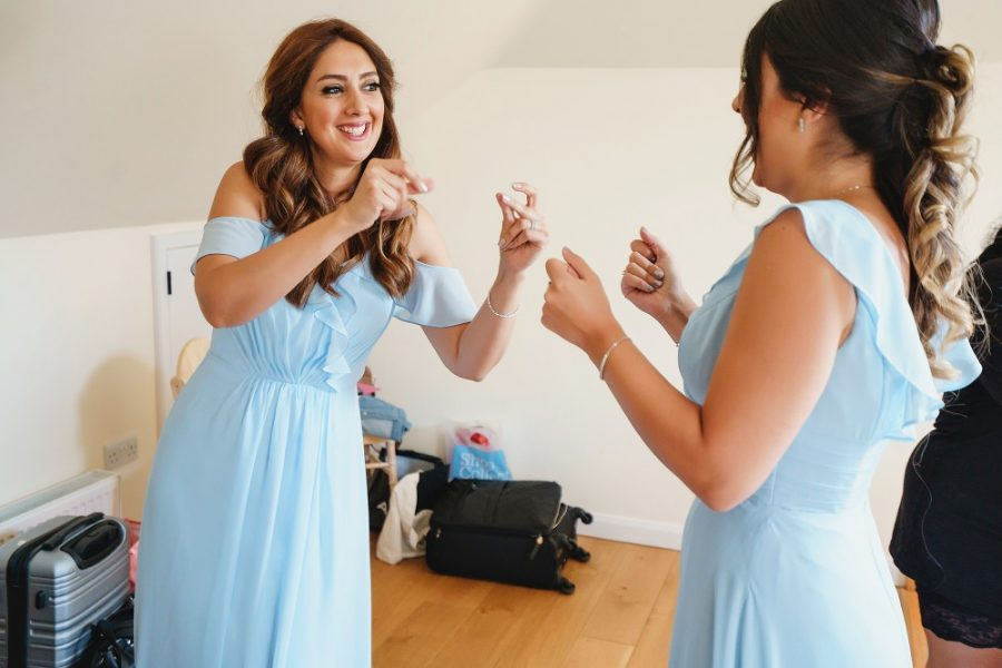 bridesmaids dancing at micklefield hall