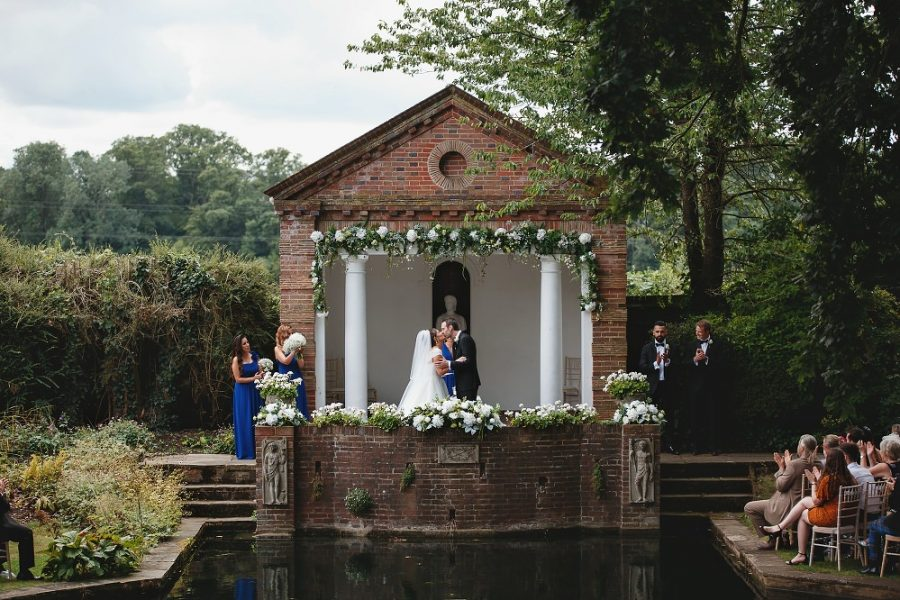 first kiss at micklefield hall wedding