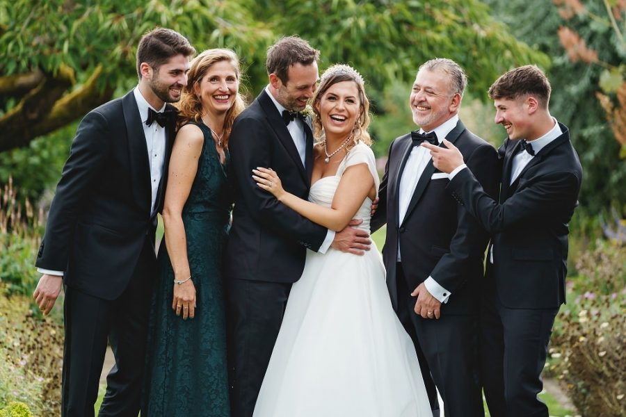 family photo at micklefield hall wedding
