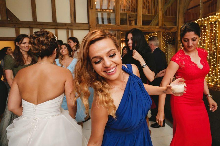 bridesmaid dancing at micklefield hall wedding