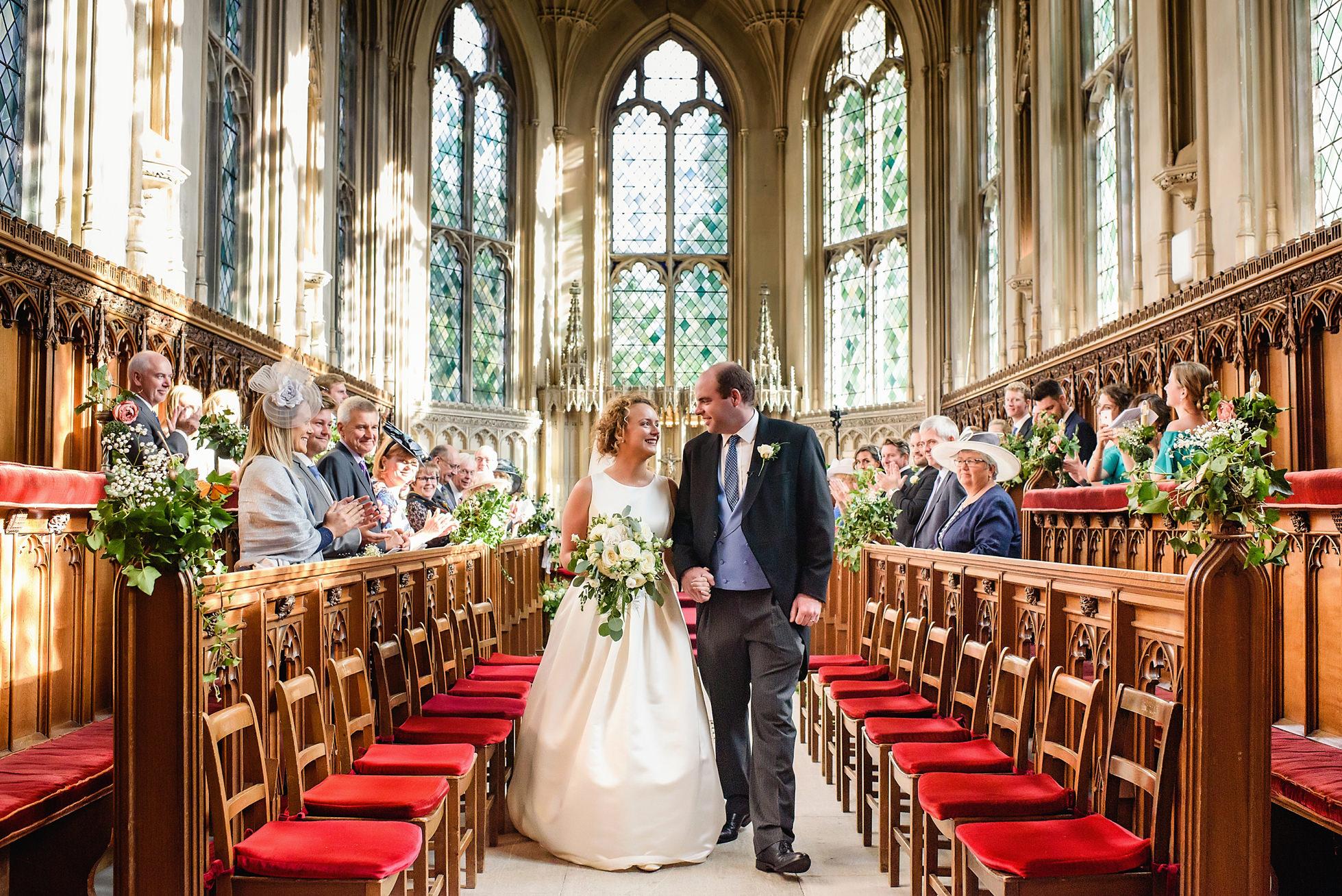 wedding ceremony in chapel at ashridge house