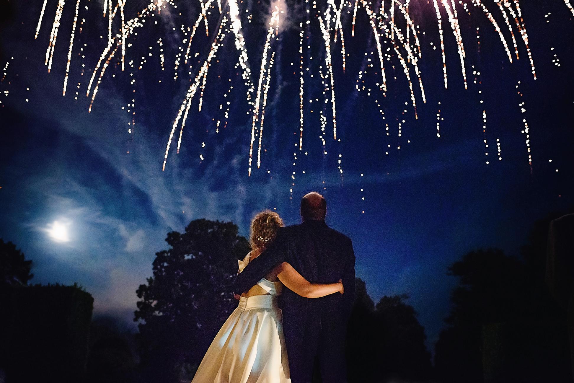 fireworks at ashridge house wedding