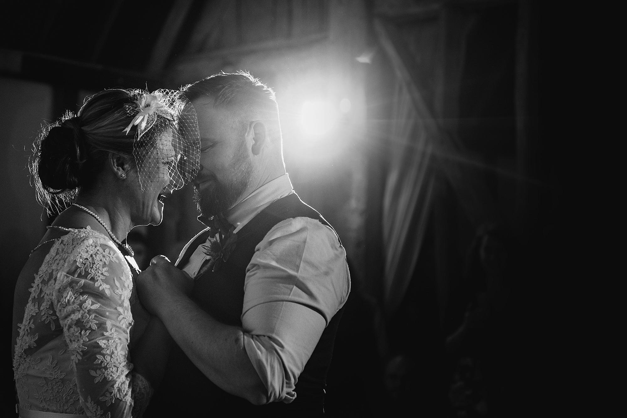 First dance at barn wedding venue