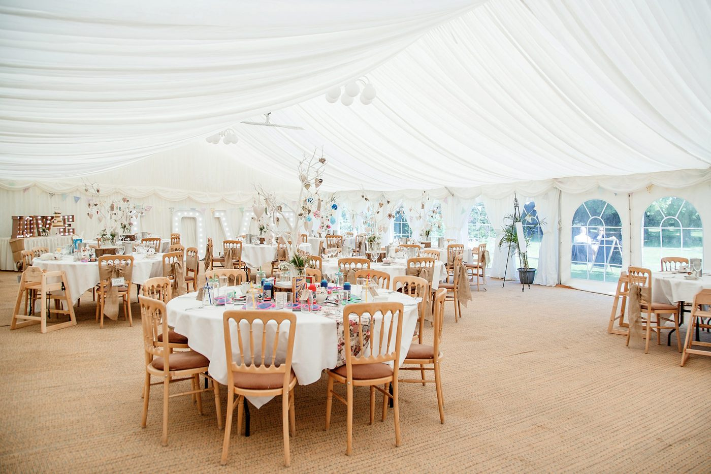 marquee at minstrel court set up for wedding reception