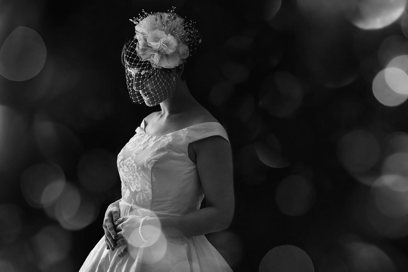 black and white bridal portrait in natural light