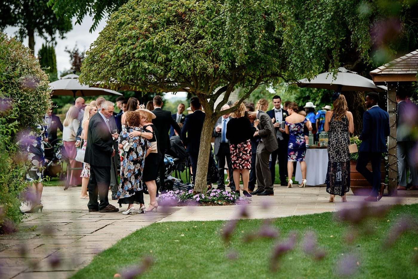 drinks reception at countryside wedding