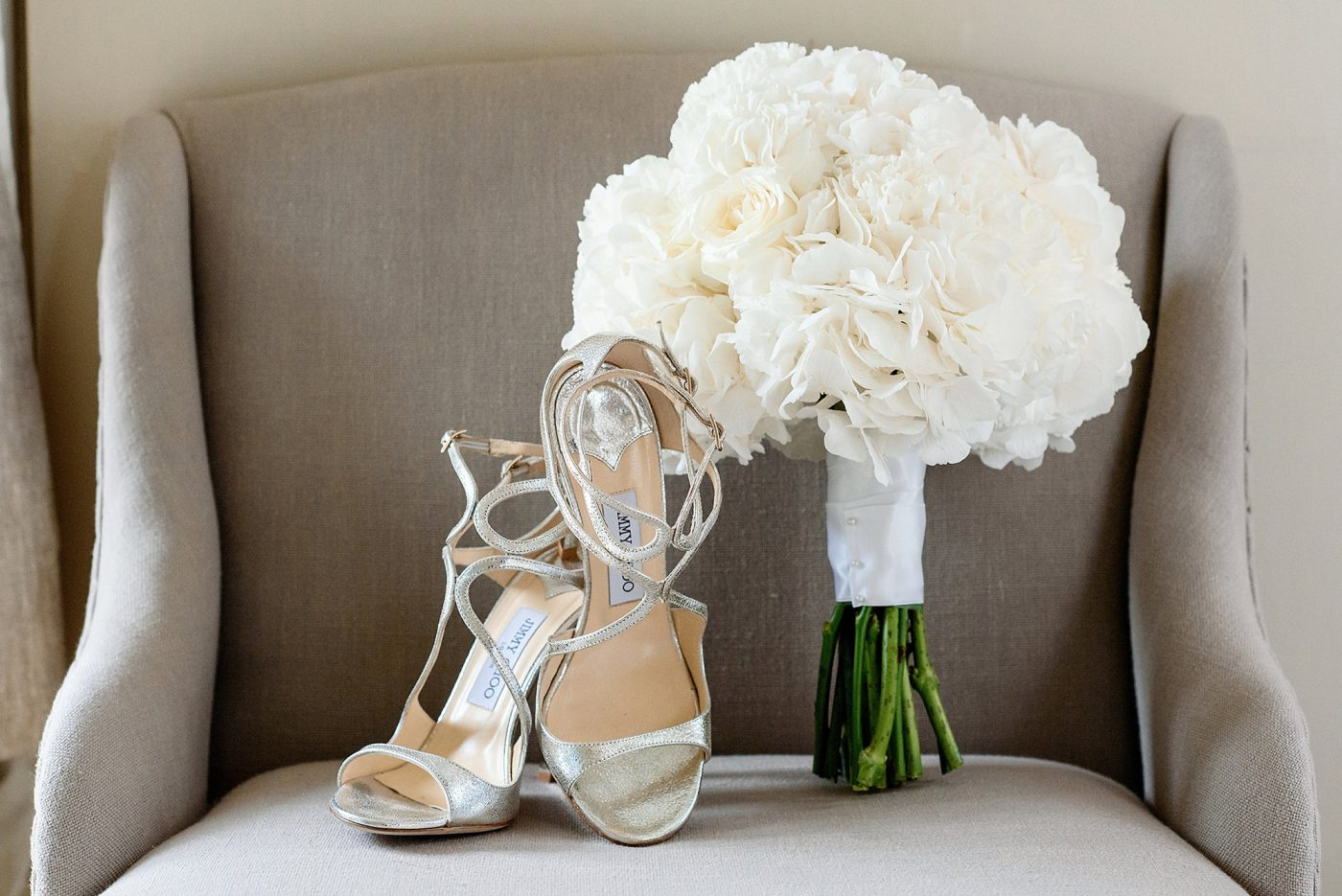 jimmy choo shoes and white bouquet